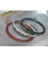 Estate Lot of 3 Red White & Blue Enamel Asian Cloisonne Floral Bangle Br... - $27.94