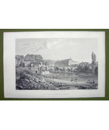 GERMANY Munden Old Palace & Bridge - 1820s Copper Engraving by Cpt. Batty - $21.42
