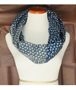 Prussian Blue Infinity Scarf, Floral Cotton Tulle Scarf, Layering Fashio... - $28.99