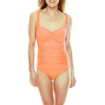 Liz Claiborne Solid One Piece Swimsuit Size 16 Msrp $89.00 Coral New - $39.99