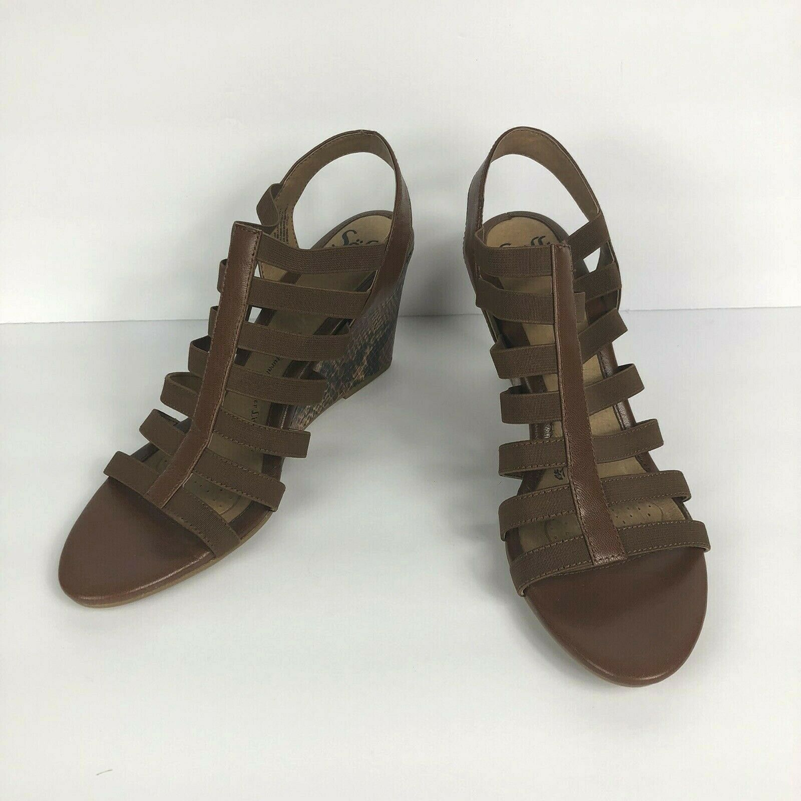 Primary image for Sofft Womens Barstow Cognac Brown Reptile Wedge Gladiator Sandals Size 11