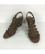 Sofft Womens Barstow Cognac Brown Reptile Wedge Gladiator Sandals Size 11 - $38.61