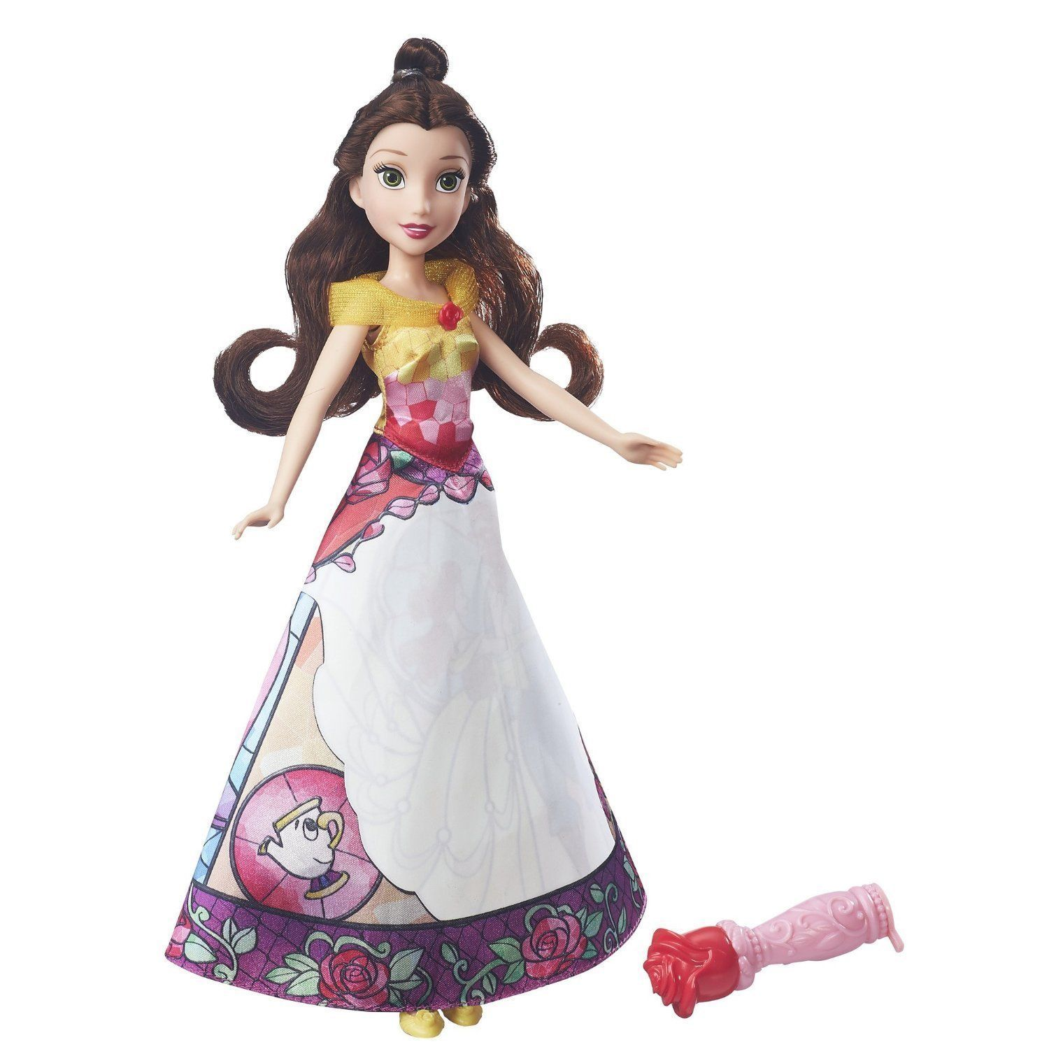 Image 1 of Disney Princess Belle's Magical Story Skirt Doll in Fuchsia/Yellow by Hasbro