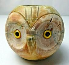 Vintage French Art Deco heavy Glass Eyes Owl Alabaster head pot holder - $49.00
