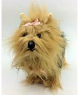 E&J Classic Yorkshire Terrier Dog Black Brown Plush Pink Bow Realistic L... - $48.23