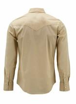 Men's Pearl Snap Button Long Sleeve Western Slim Fit Khaki Dress Shirt 2XL image 2