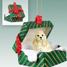 Conversation Concepts Cocker Spaniel Blonde Gift Box Green Ornament - $12.99