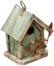 Your Heart's Delight Tin Flowers Birdhouse, 5 by 7 by 4-Inch, Sage/Cream - $28.78