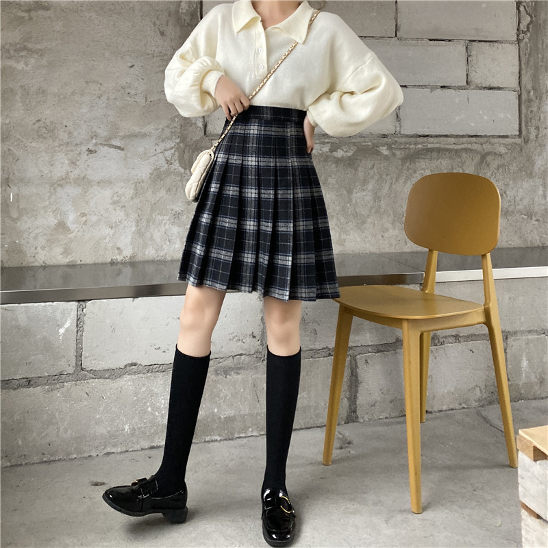 Women Girl Black Plaid Skirt Plus Size Fall Winter Pleated Plaid Skirt Outfit