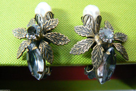Vintage Deco gold tone metal Pearl faux & crystal design clip ON earrings - $31.20
