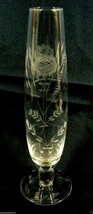 Vintage crystal clear glass bud vase acid etched flowers and edge footed - $53.10