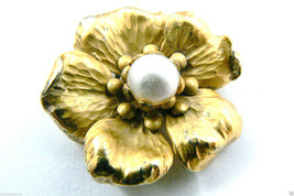 VINTAGE NAPIER GOLD OVER STERLING SILVER PEARL FLOWER PIN BROOCH $0 SH - $109.00