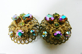 Vintage West Germany Purple Borealis Faceted Beads Gold Tone Clip On Earrings - $55.96