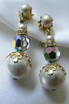 Vendome gold tone Auroral Borealis white Pearl faux Bead drop clip Earrings - $103.20