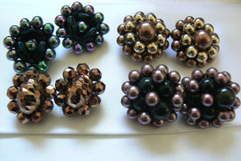 Lot  of 4 W. Germany Japan Signed Beaded Cluster clip on earrings Gold Chocolate - $68.00