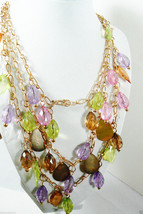 VLD Victoria Leland Design gold tone cascade charmed link chain necklace... - $28.00