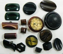 VTG Mix Lot of 17 assorted color black brown  size all bakelite carved b... - $143.65