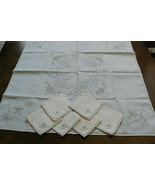VTG Madeira Linen Embroidery Lace Decor Accent Table Cloth 33x33 & 6 nap... - $80.10
