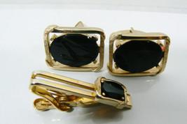 VINTAGE GOLD TONE METAL BLACK ONYX CUFF LINKS & TIE BAR CLASP PIN SET SWANK - $53.10