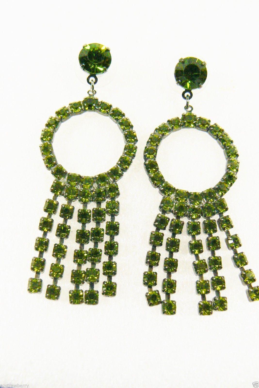 Fantastic Green Rhinestones Circle & Fringe Dangling Chandelier Earrings - $39.20