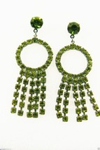 Fantastic Green Rhinestones Circle & Fringe Dangling Chandelier Earrings - $39.20