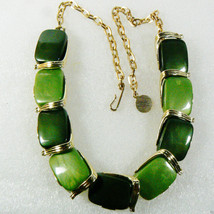"Vintage Two Tone Green Thermoset Gold Tone Link Collar Necklace 16.5"" $0 Ship - $103.20"