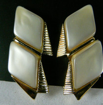 Vintage Gold Tone Metal Pearly Retro Design Clip On Earrings - $14.40