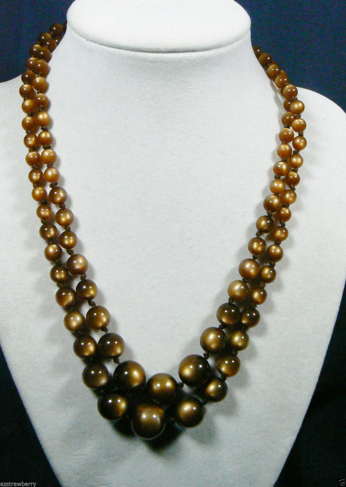 "Primary image for Vintage Graduated Chocolate color Lucite round Beads two strand Necklace 17""L"
