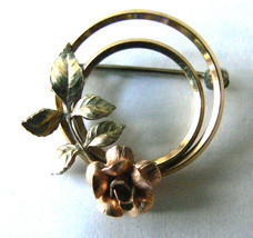 Vintage Krementz Gold Tone Metal Signed Wreath rose flowers pin brooch - $30.00