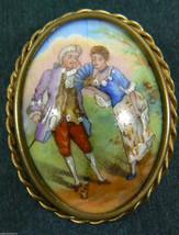 Vintage Limoges France Porcelain Pin Brooch oval framed romantic date co... - $134.10