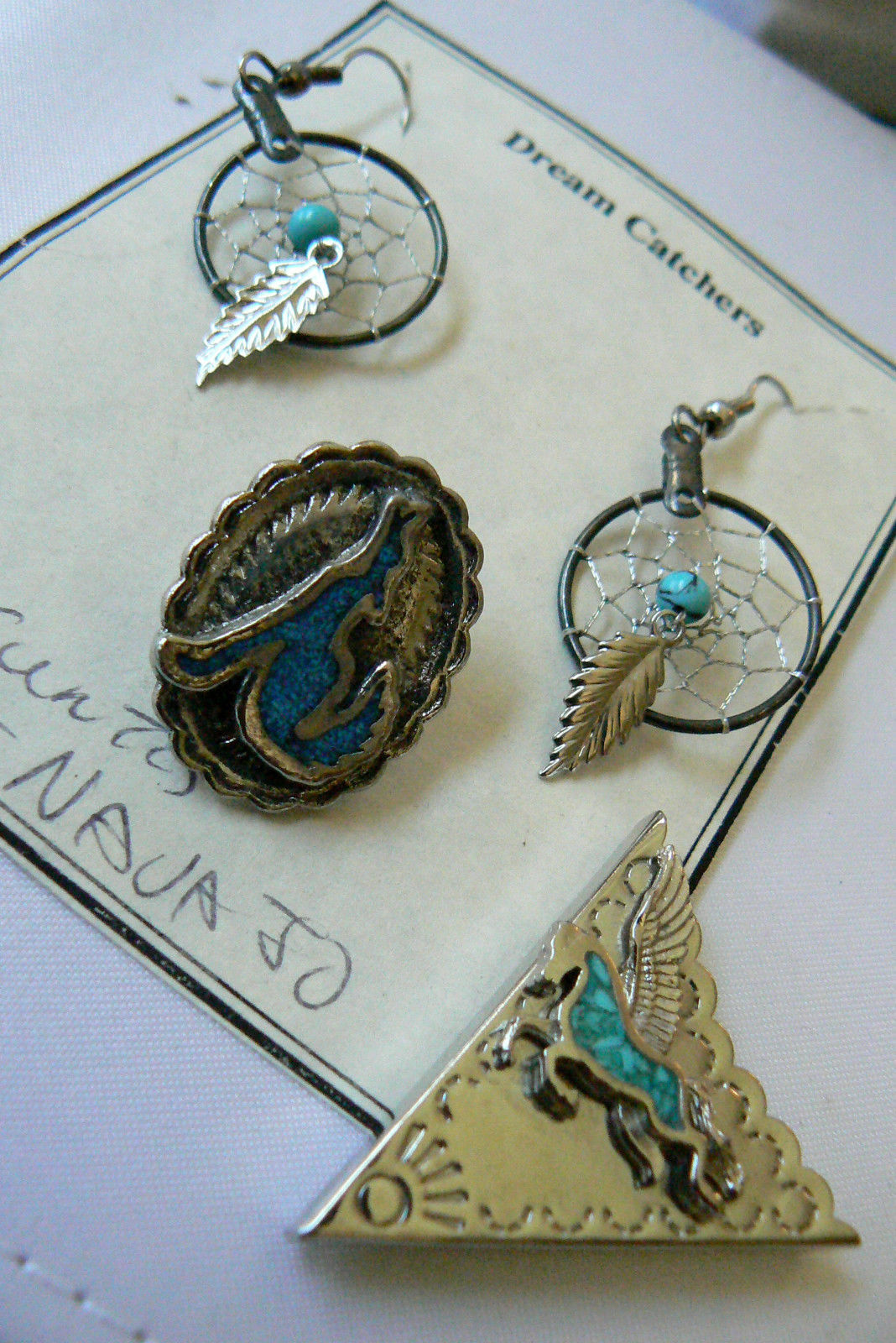 Primary image for Hndcrafted silvertone Crushed Turquoise Dream catcher earrings belt tip tack lot