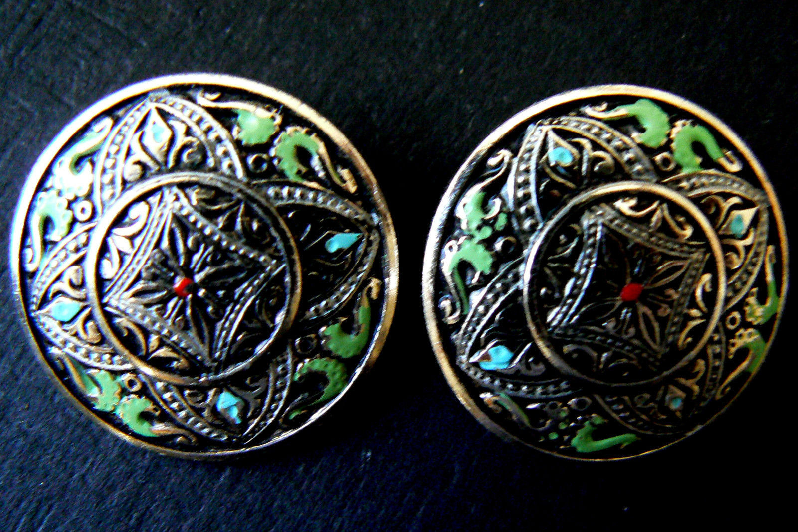 Silver Tone Metal multi-color green red  Enamel Clip on Earrings image 1