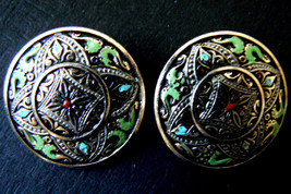 Silver Tone Metal multi-color green red  Enamel Clip on Earrings - $20.00