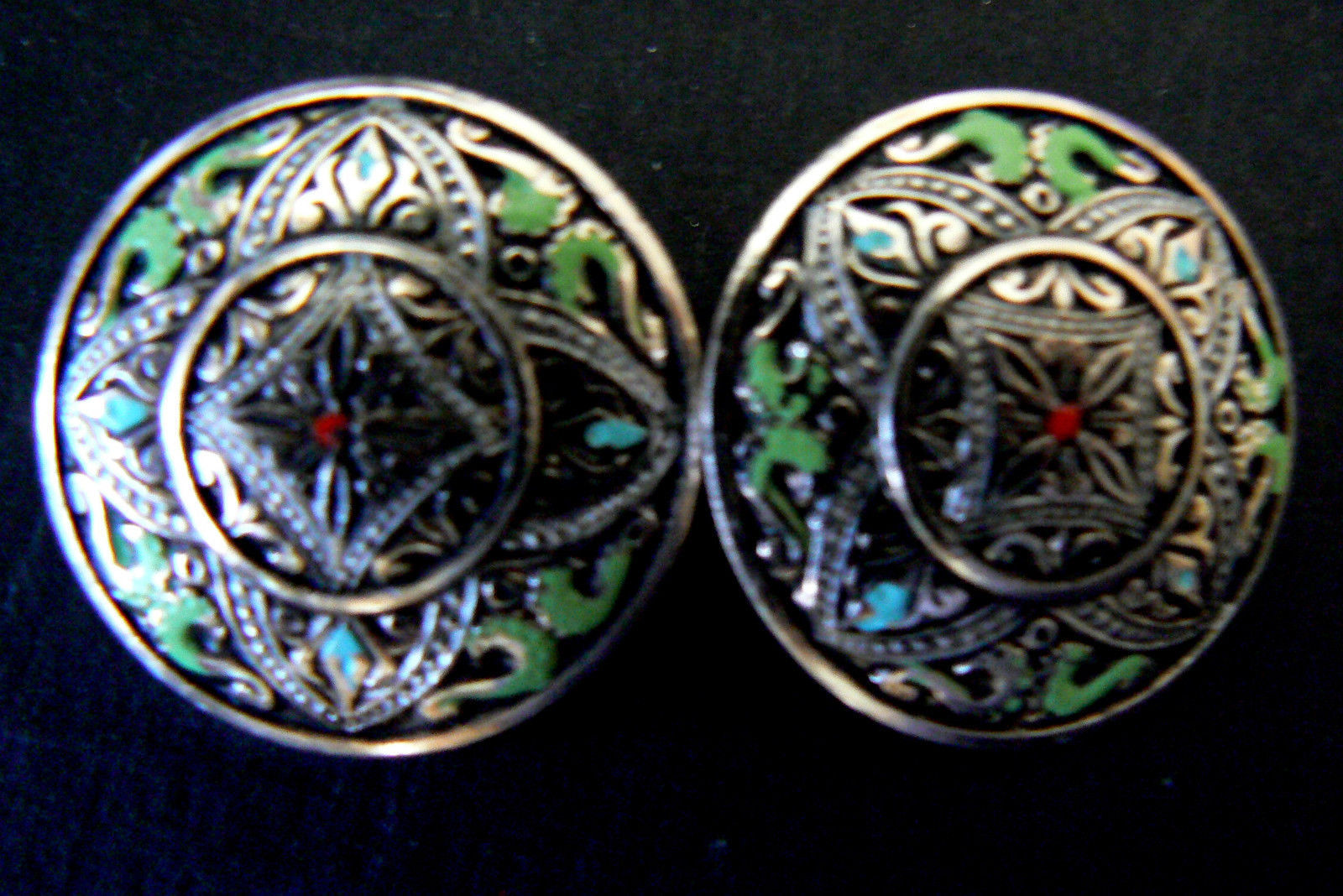 Silver Tone Metal multi-color green red  Enamel Clip on Earrings image 2