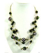 """Gold Tone metal 3 link beaded Black purple green fashion Necklace 18"""" Ca... - $26.36"""