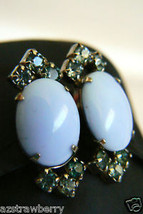 Silver Tone Blue Glass Crystal Screw Clip On Earrings - $31.96