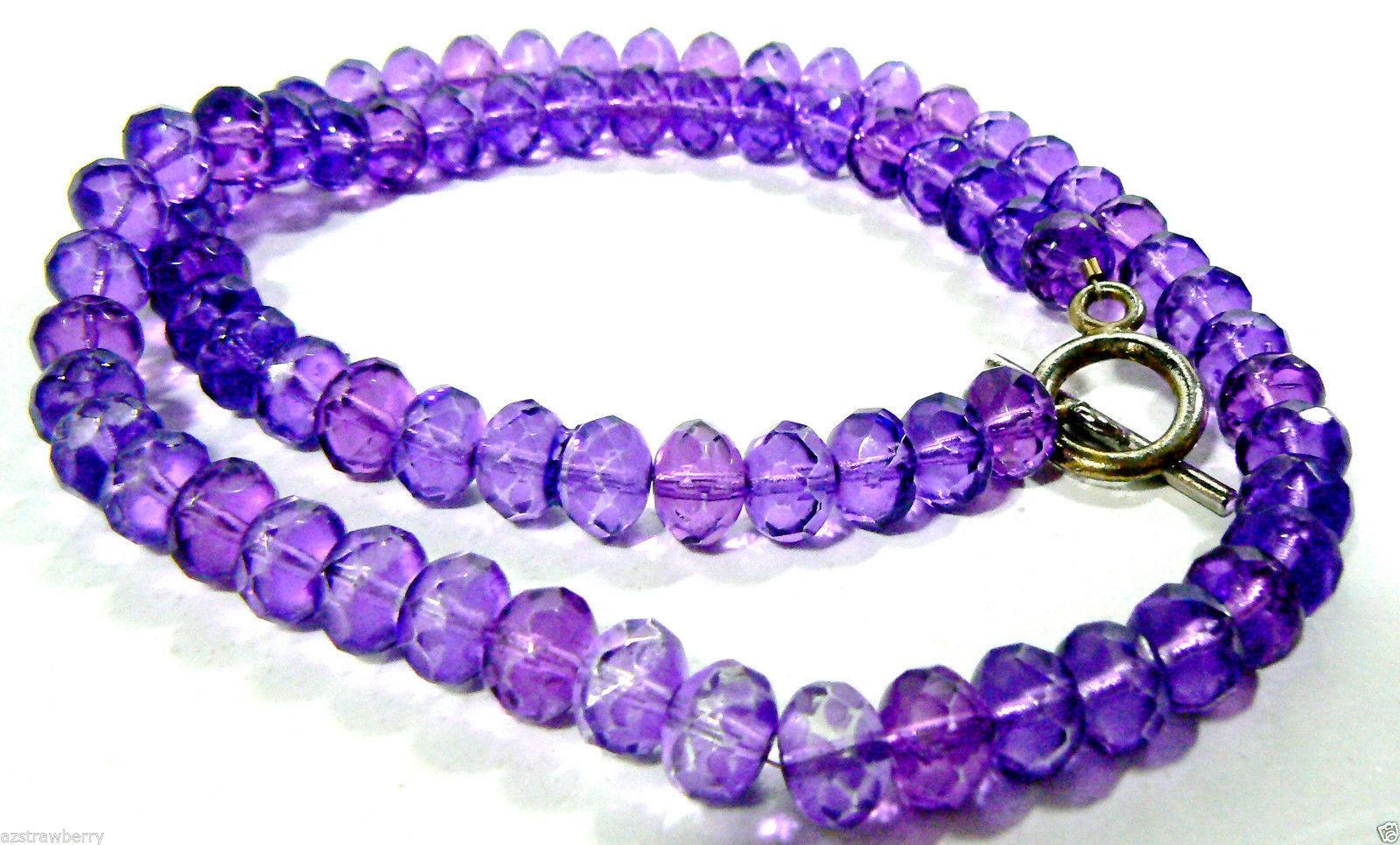 "Primary image for Vintage Faceted Purple Glass beads strand toggle Necklace 20"" $0 shipping"
