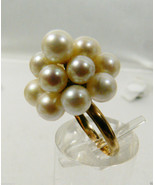 14k yellow gold White Pearl cluster Dome Pyramid Ring sz 5 - $295.20