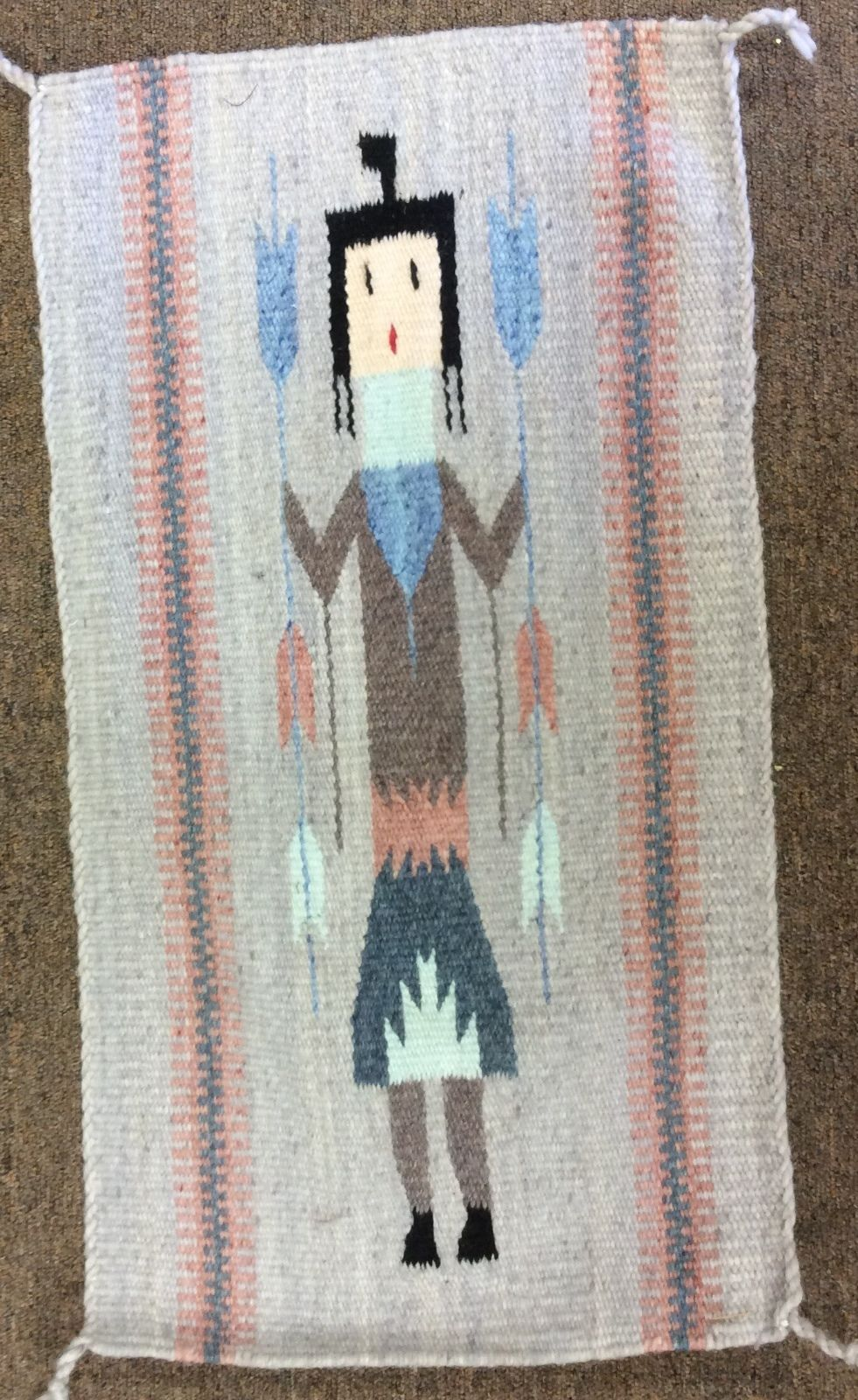 Kachina doll weaving handwoven rug wall hanging decor 100 for Decor international handwoven rugs