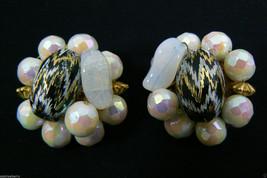 Vintage White Shimmer Glass Beads Cluster Clip On Earrings - $31.96