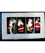 VTG Signed Japan Fugural Set of 4 Santa Claus Music Band Original Box Cork - $73.60