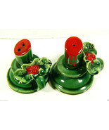 VINTAGE JAPAN SIGNED GREEN RED CANDLE HOLLY BERRIES SALT & PEPPER SHAKER... - $36.00
