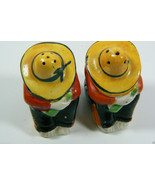 VINTAGE JAPAN Signed YELLOW SOMBRERO MEN SALT & PEPPER SHAKERS Pair - $28.00