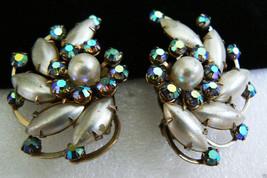 Vintage Silver Tone Blue Rhinestone Crystal White Pearl Faux clip on Earrings - $39.96