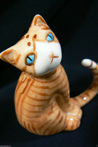 Miniature Genuine Bone China Orange Cat with long tail Figurine - $35.00