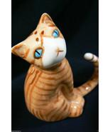 Miniature Genuine Bone China Orange Cat with long tail Figurine - €29,35 EUR