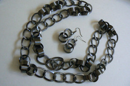 Fashion Silver Tone Chunky ring Link chain Necklace & Earrings Set - $23.20