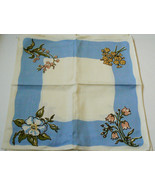WHITE BLUE & FLOWERS COTTON BLEND FABRIC DINNER LUNCH NAPKINS SET OF 4 1... - $25.00