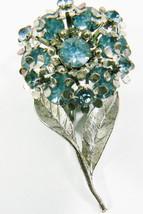 Vintage silver tone metal Blue Crystal Rhinestones Multi Flower Pin Brooch - $35.00