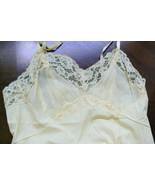 VTG Vanity Fair Light Yellow lace nylon tricot sz 32 Slip Gown Lingerie - $85.00